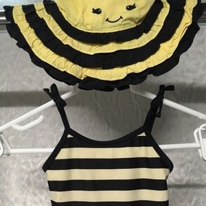 Girls  Gymboree Swimsuit with Sun Hat Bumble Bee